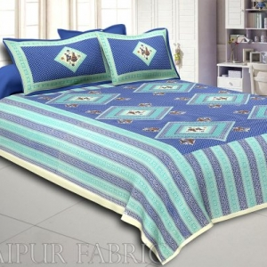 Cream Border Blue Base Dancing Couple Pattern Screen Print Cotton Double Bed Sheet