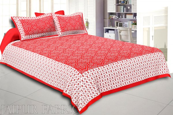 Red Border White Base Bandhej Pattern Screen Print Cotton Double Bed Sheet