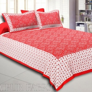 Maroon Border White Base Bandhej Pattern Screen Print Cotton Double Bed Sheet