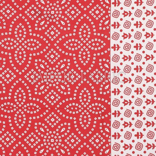 Red Border White Base Bandhej Pattern Screen Print Cotton Double Bed Sheet