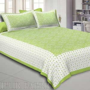 Green Border White Base Bandhej Pattern Screen Print Cotton Double Bed Sheet