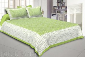 Wholesale Green Border White Base Bandhej Pattern Screen Print Cotton Double Bed Sheet