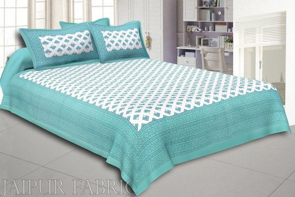 Turquoise Border Arrow Pattern Screen Print Cotton Double Bed Sheet