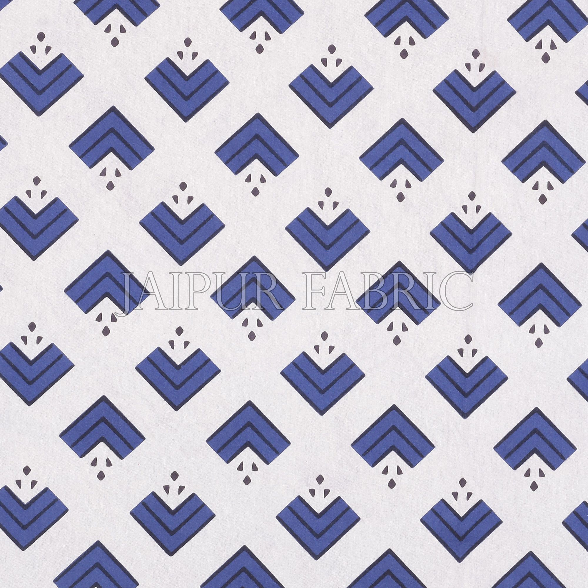 Navy Blue Border Arrow Pattern Screen Print Cotton Double Bed Sheet