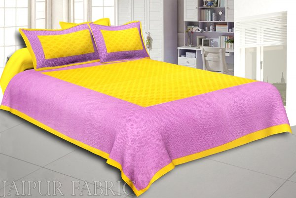 Yellow Border Purple Base Leaf Pattern Screen Print Cotton Double Bed Sheet