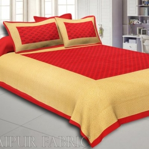 Red Border Brown Base Leaf Pattern Screen Print Cotton Double Bed Sheet