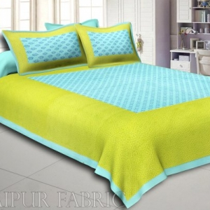 Sea Green Border Green Base Leaf Pattern Screen Print Cotton Double Bed Sheet