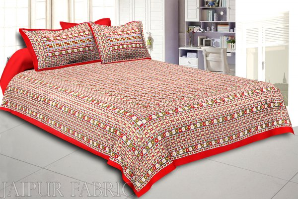 Red Border Multi Color Patchrs Screen Print Cotton Double Bed Sheet
