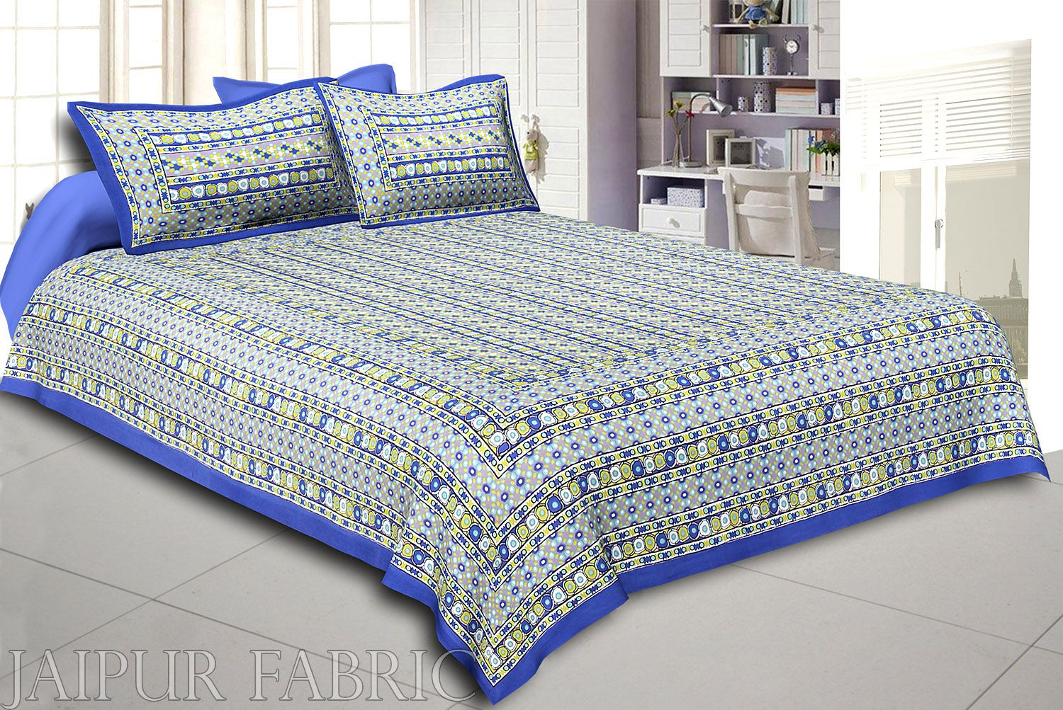 Blue Border Multi Color Patchrs Screen Print Cotton Double Bed Sheet