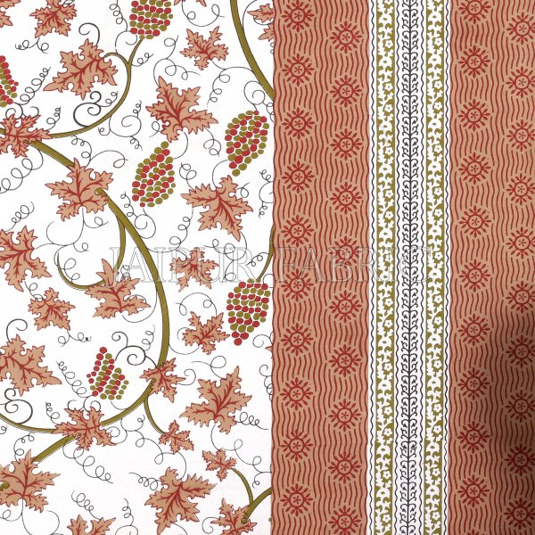 Sienna Border Grapes Pattern Screen Print Cotton Double Bed Sheet