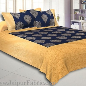 Cream Broad Border With Shining Gold Print Navy Blue Base Gold Small Tree  Pattern Super Fine Cotton  Double Bed Sheet