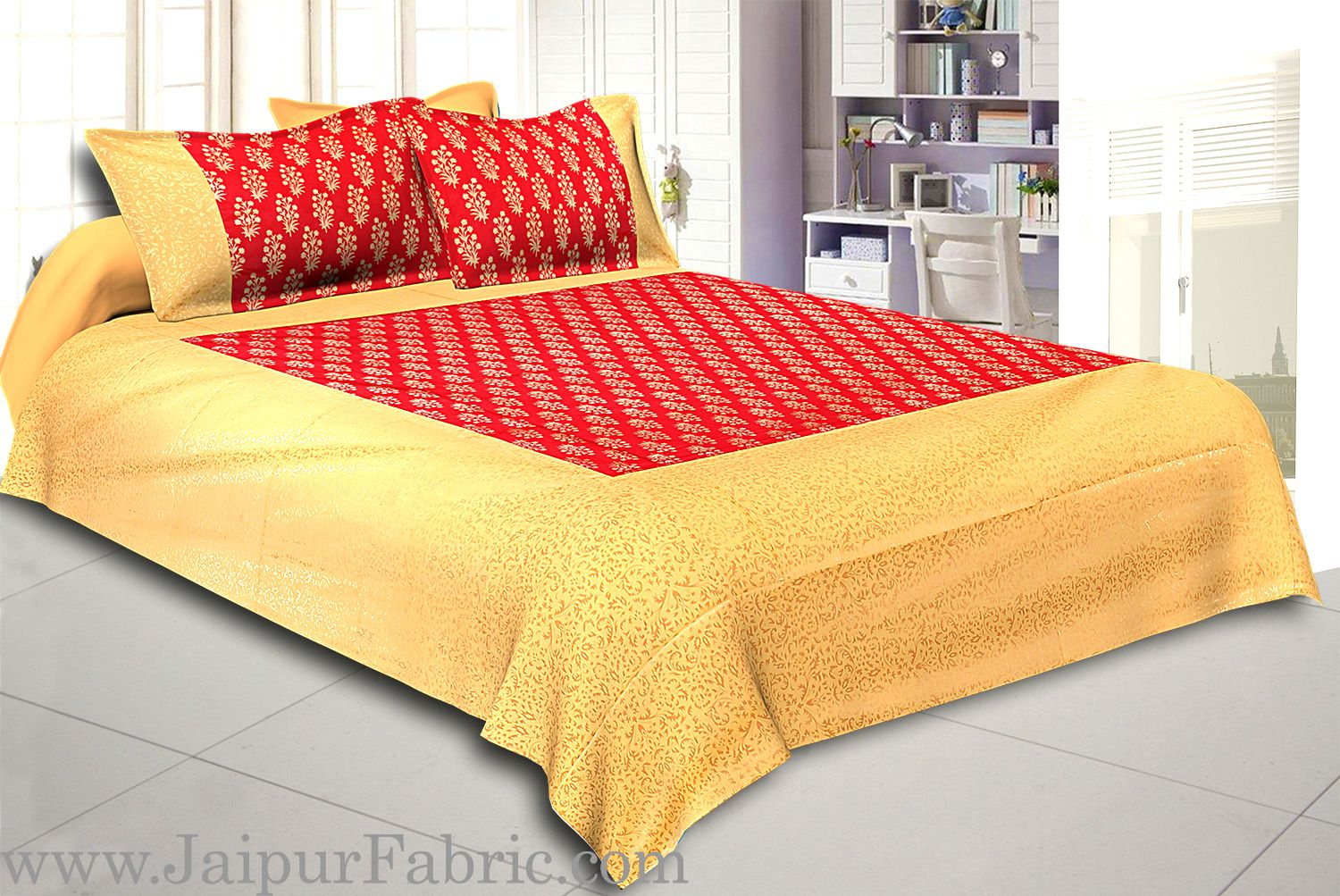 Cream Broad Border With Shining Gold Print Orange Base Gold Flower Bunch Pattern Super Fine Cotton  Double Bed Sheet