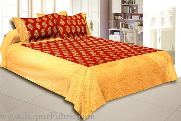 Cream Broad Border With Shining Gold Print Red  Base Gold Kerry Pattern Super Fine Cotton  Double Bed Sheet