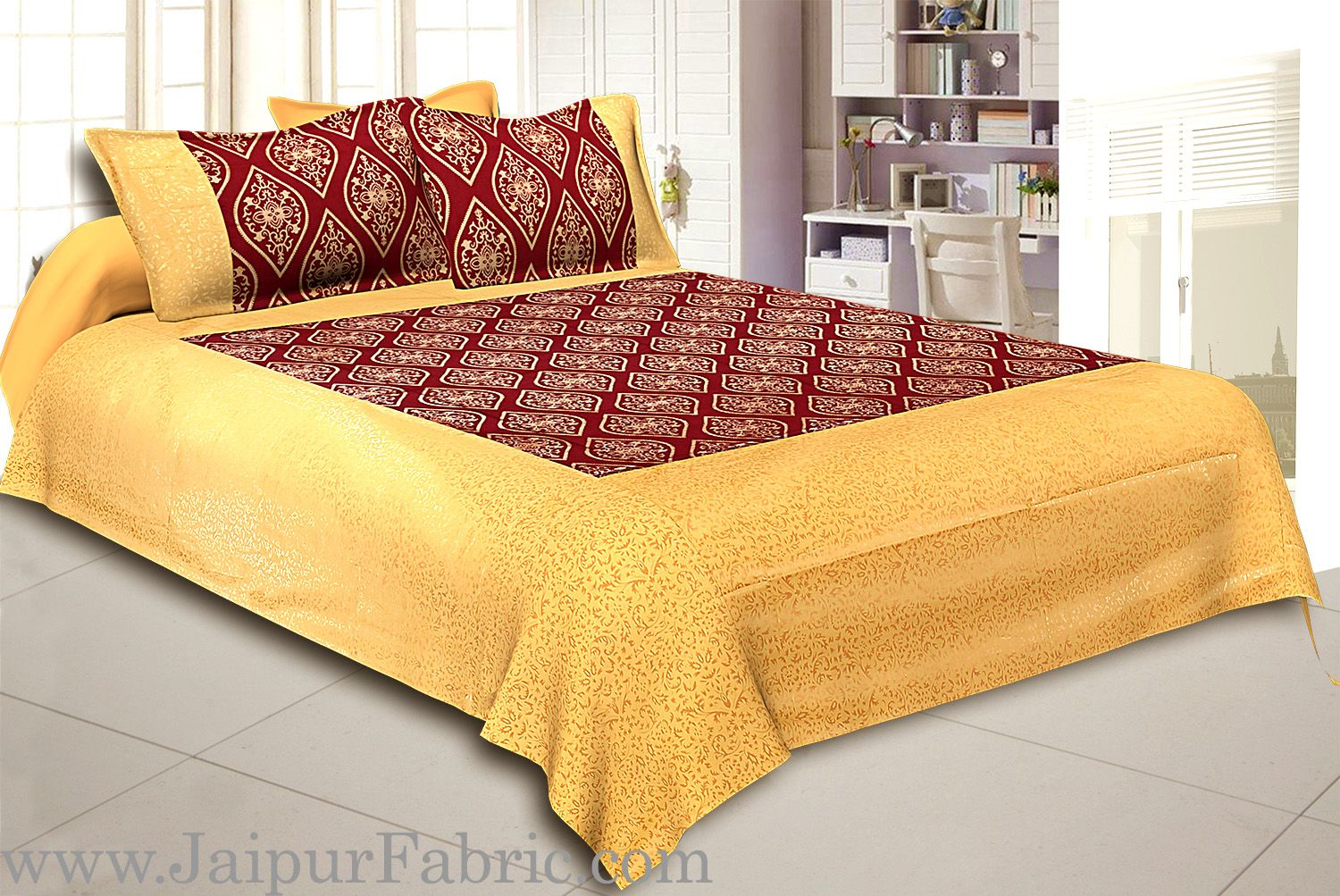 Cream Broad Border With Shining Gold Print Maroon Base Gold Retro Pattern Super Fine Cotton  Double Bed Sheet