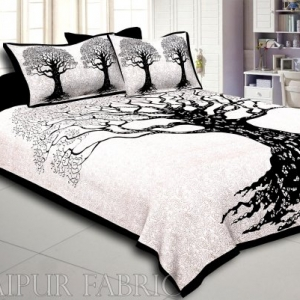 Black  Border Light Cream base Big Tree Pattern  Super Fine Cotton Double Bed Sheet