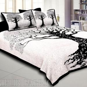 Black  Border Light Cream base Big Tree Pattern  Super Fine Cotton Double Bed Sheet
