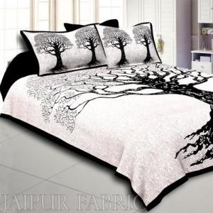 Wholesale  Black Border Light Cream base Big Tree Pattern Super Fine Cotton Double Bed Sheet