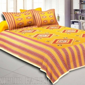 Cream Border Orange Base Dancing Couple Pattern Screen Print Cotton Double Bed Sheet