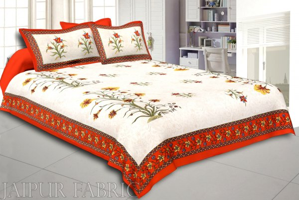 Orange Border Cream Base  Bud And Tree  Print Cotton Double  Bed Sheet