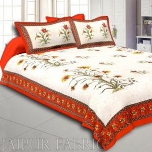 Wholesale Orange Border Cream Base  Bud And Tree  Print Cotton Double  Bed Sheet