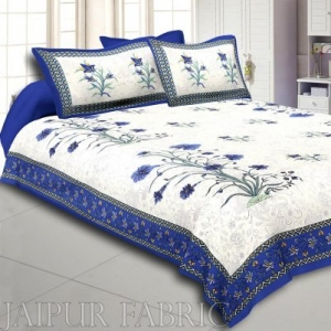 Wholesale Blue Border Cream Base  Bud And Tree  Print Cotton Double  Bed Sheet