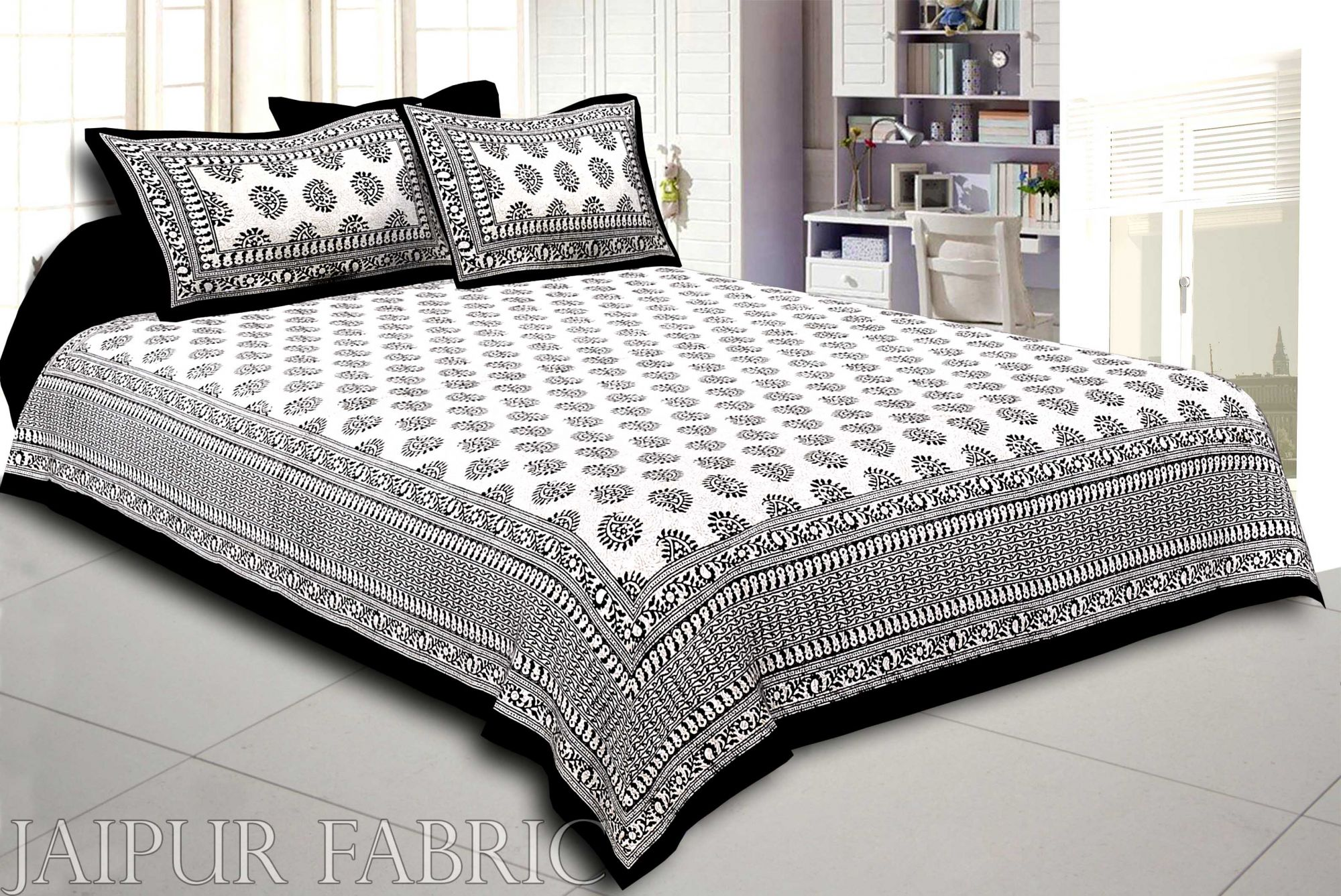 Black Border  Cream Base Kerry Pattern Hand Block Print Super Fine Cotton Bed Sheet