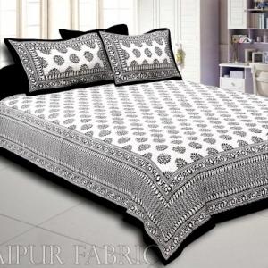 Black Border  Cream Base Kerry Pattern Hand Block Print Super Fine Cotton Bed Sheet