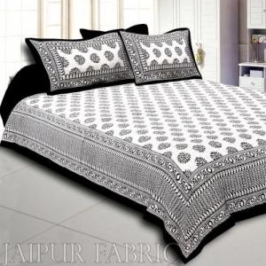 Wholesale  Black Border Cream Base Kerry Pattern Hand Block Print Super Fine Cotton Bed Sheet