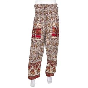 Multi Color Red Bottom Block Print Tropical Design Cotton Afghani