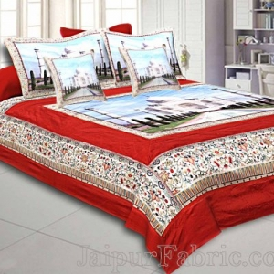 Digital Print Silk Bedsheet Taj Mahal