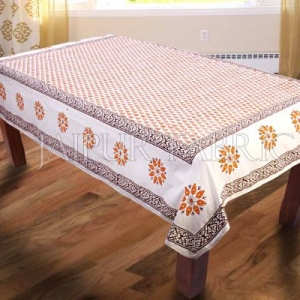 Orange Block Printed Table Cover