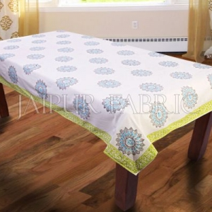 Green Border Block Print Table Cover