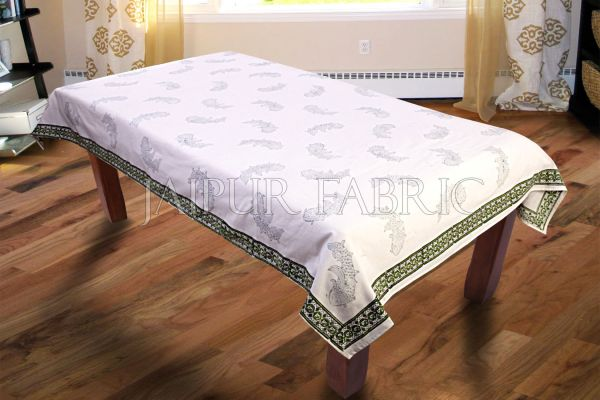 Green Border Fish Block Print Table Cover