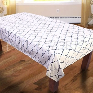 Blue Trellis Pattern Table Cover