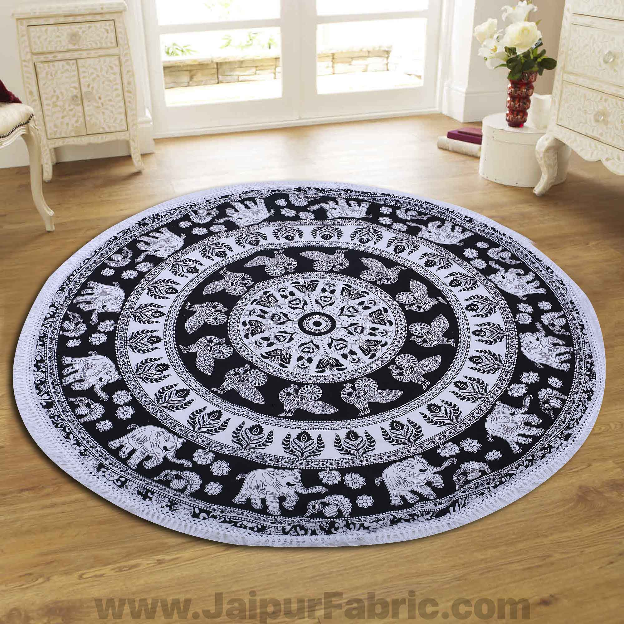"Black Wall Hanging Round Roundies Beach Throw Cotton Yoga Mat Table Cloths Table Cover Picnic Mat Tapestry Picnic Blanket Mat 72"" by Handicraft-Palace"