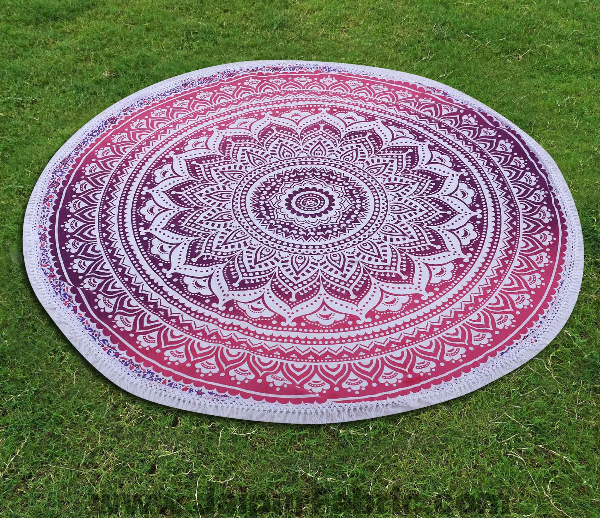 "Blue Ombre Mandala Printed Wall Hanging Round Roundies Beach Throw Cotton Yoga Mat Table Cloths Table Cover Picnic Mat Tapestry Picnic Blanket Mat 72"" by Handicraft-Palace"