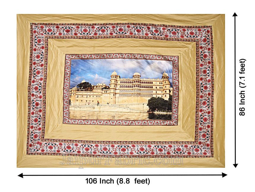 Digital Print Silk Bedsheet Udaipur Fort