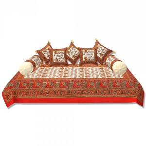 Cream Base Orange Border Rajasthani Barat Print Super Fine Cotton Diwan Set