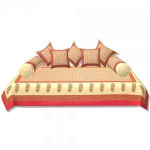 Dark Pink Border Cream Base Small Tree Pattern With Golden Print Super Fine Cotton Diwan set