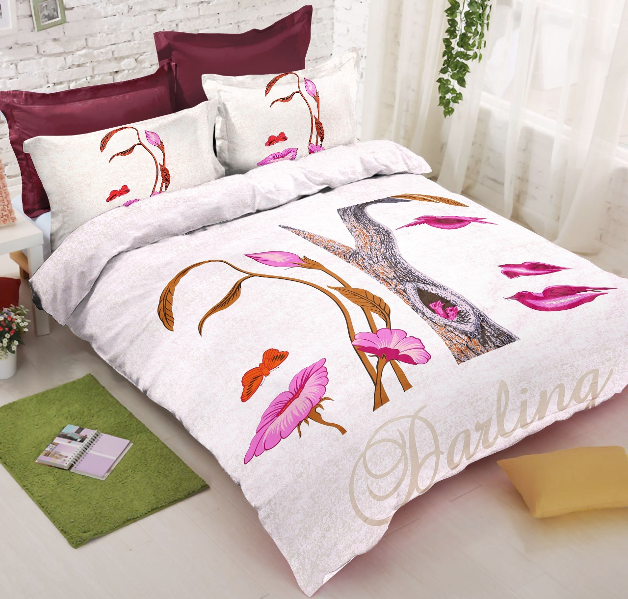 Illusion Magic Pink 240 TC Double Bedsheet