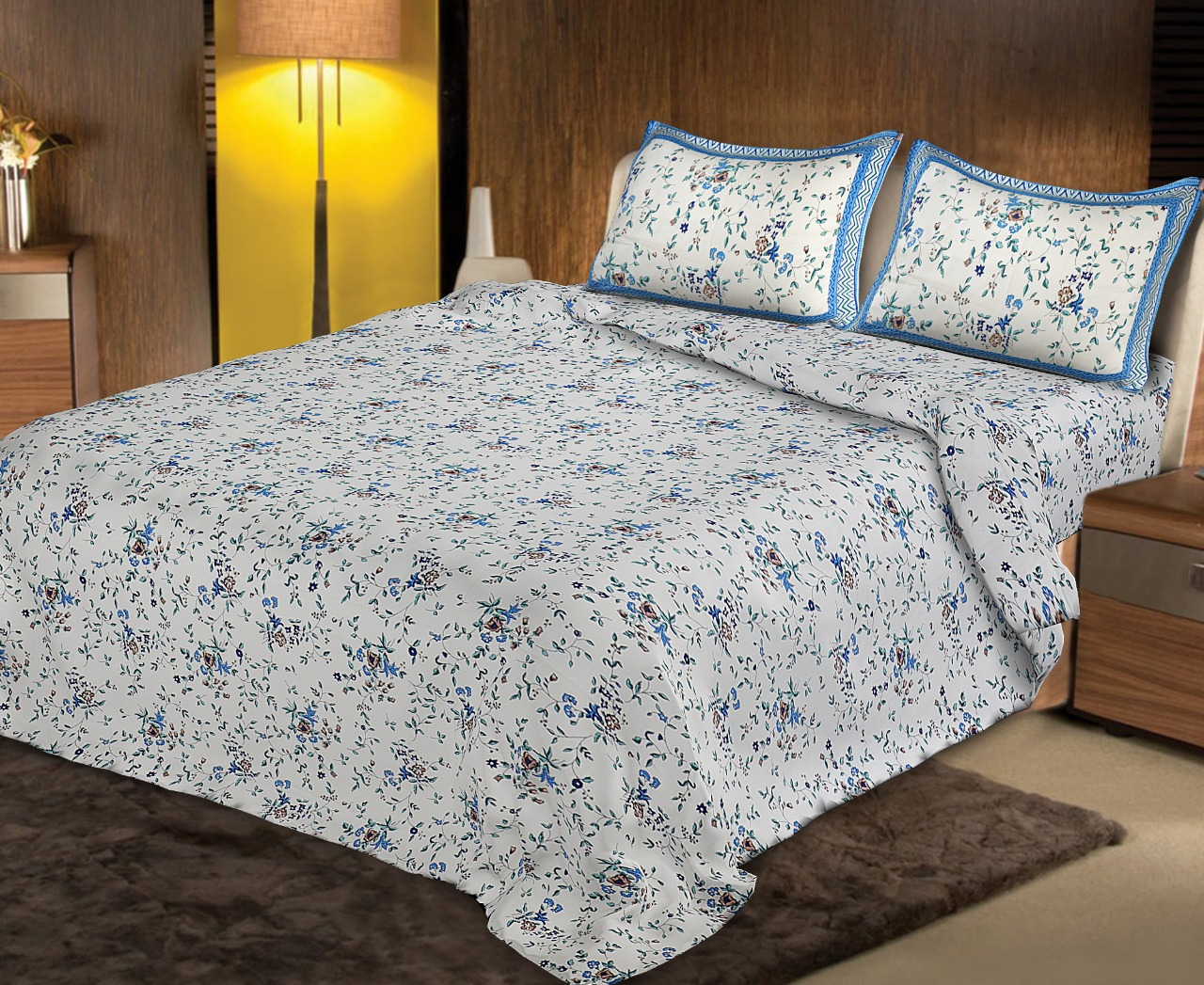 Pure Cotton 240 TC Double bedsheet in blue seamless floral print