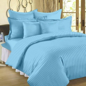 Light Blue Self Design 300 TC King Size Pure Cotton Satin Slumber Sheet for Double Bed with 2 pillow covers