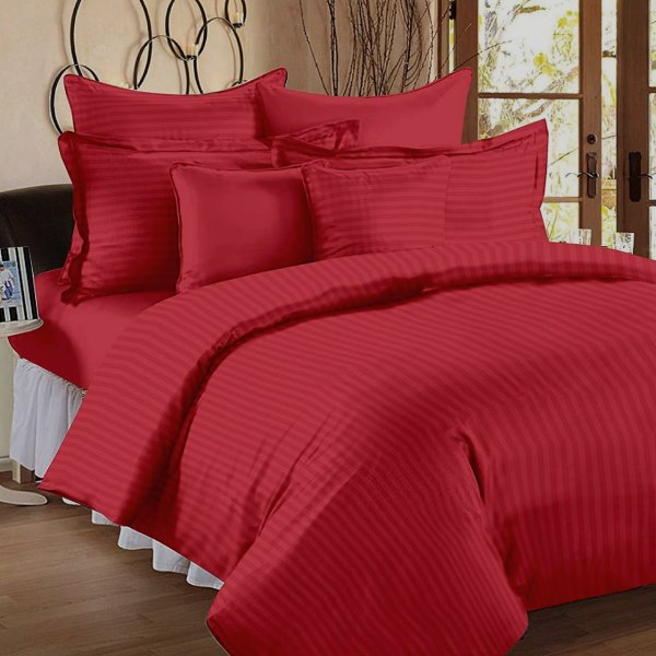 Red Self Design 300 TC King Size Pure Cotton Satin Slumber Sheet for Double Bed with 2 pillow covers