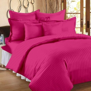 Dark Pink Self Design 300 TC King Size Pure Cotton Satin Slumber Sheet for Double Bed with 2 pillow covers