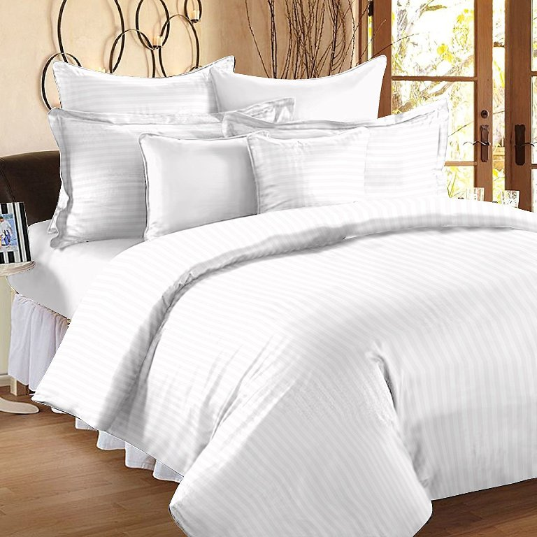 Solid White Self Design 300 TC King Size Pure Cotton Satin Slumber Sheet for Double Bed with 2 pillow covers