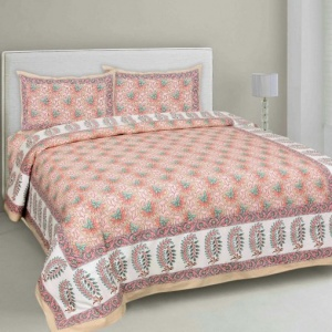 Lovely Lotus Peach Double Bedsheet