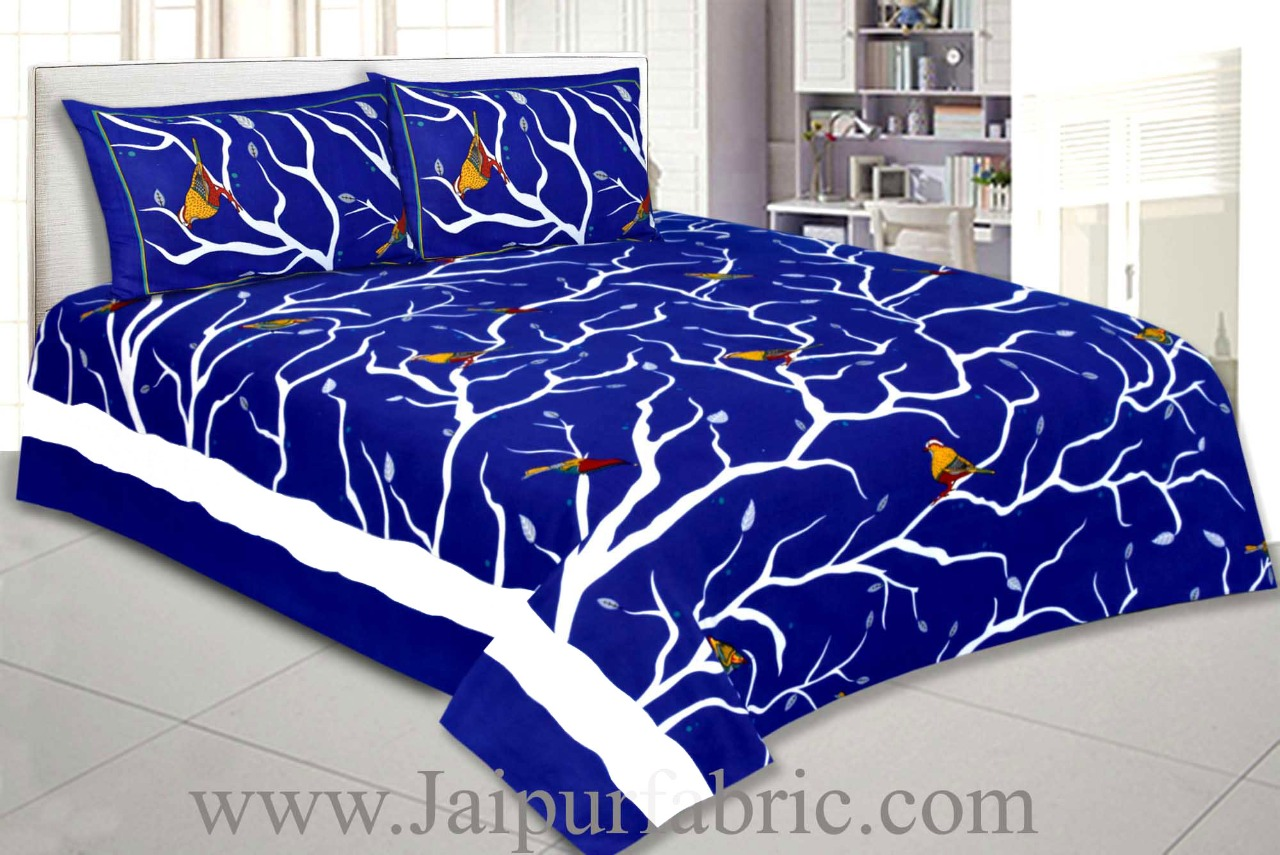 Double Bedsheet Indian Sparrow Blue Color With 2 Pillow covers