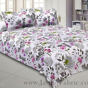 Twill Cotton Bedsheet Seamless White Floral Print