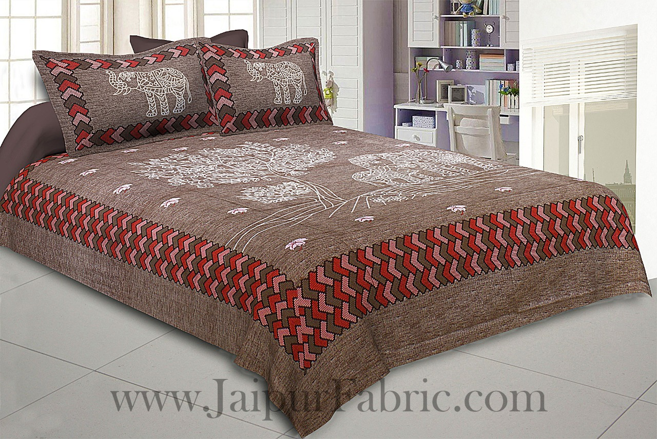 Elephant Love Brown Giza Cotton Double BedSheet