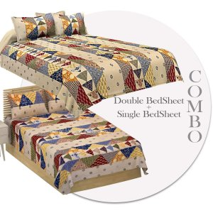 COMBO200 Beautiful Barmeri 1 Double Bedsheets + 1 Single Bedsheet + 4 Pillow Covers